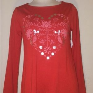 Red Heart Print Long Sleeve